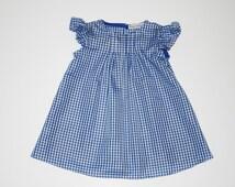 Blue Gingham Dress, Girls Dorothy Dress, Flutter Sleeve Dress, Girls Dress, Pleated Dress, Baby Dorothy Dress, Dorothy Costume, Cotton