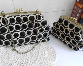 Set of 2 Rosette Lace Clutches Black Kisslock Purse Handbag