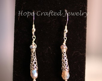 Champagne bubbles of Sterling Silver and Labradorite Earrings (E015L)