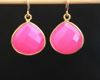 Dangle hot pink chalcedony drop earrings,gemstone bezel earrings-silver earrings,gold vermeil earrings,wedding jewelry,holiday gift DE33