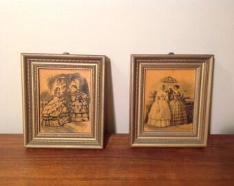 Pair of vintage victorian prints by Heloise LeLoir