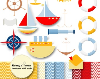 Sailing Clipart; Boat clipart; Ship clipart; Digital papers