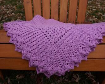 Purple Crochet Blanket, crochet baby blanket, crochet afghan lapghan, crochet decorative throw blanket
