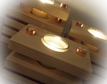 Rustic Contemporary Wooden Votive Candle Holder Centerpiece Set (Set of 3)