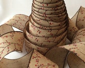 """Berry Blossom Ribbon - 2.5"""" wide wired seamless ribbon for bows, holiday decorations, gifts"""