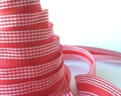 """Red and White gingham ribbon - 1.5"""" wide wired seamless ribbon for bows, Valentine's Day decorations, gifts, wrap"""