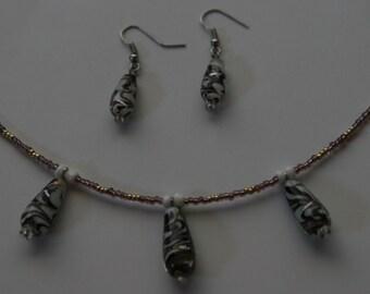SALE-Purple glass swirl bracelet and earrings