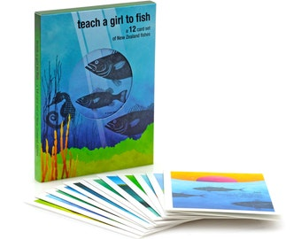12 card gift pack of A6 greeting cards with envelopes – New Zealand native fish series illustration.