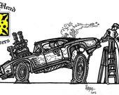 b&w classic muscle car ge...