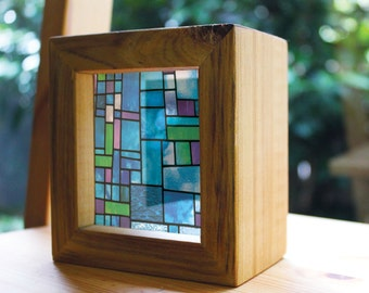 Modern Stained Glass Handmade Timber Light Box. See through prints that glow in natural light - just like stained glass!