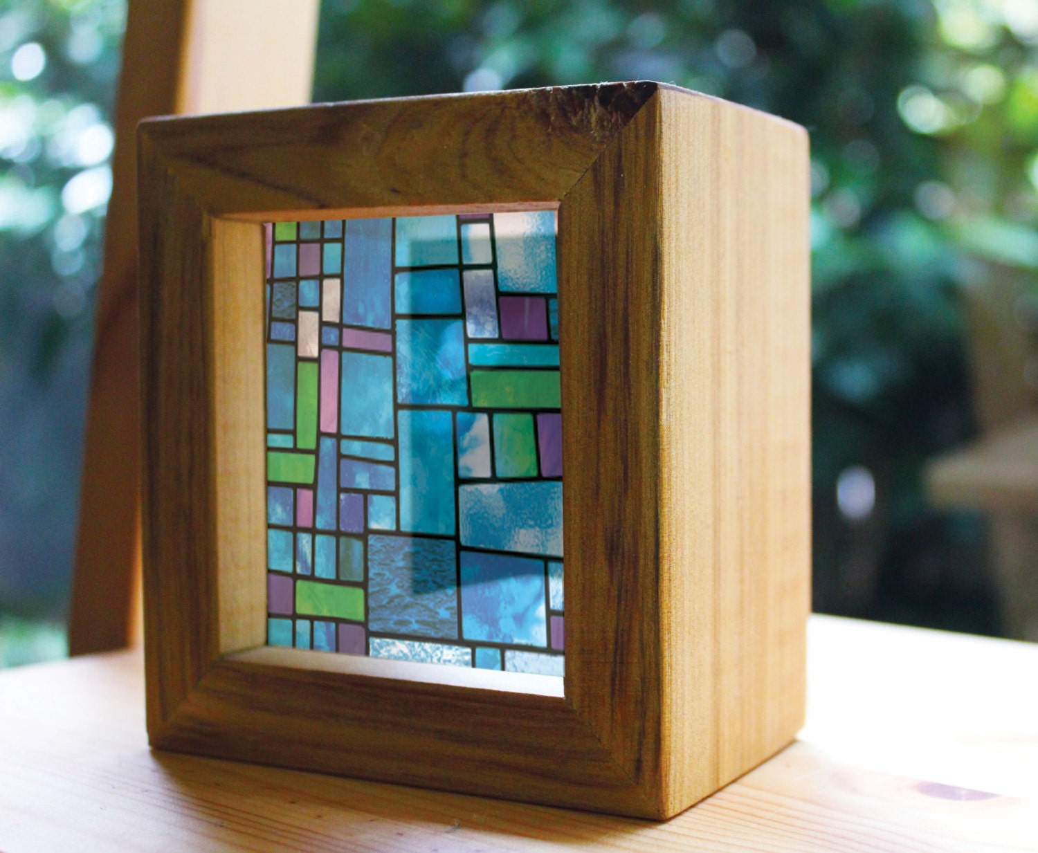 Modern stained glass handmade timber light box see through for Contemporary stained glass