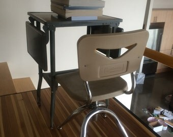 MId Century Child's School Desk and Chair Set