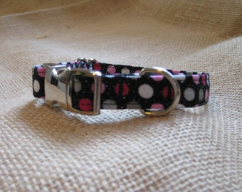 Pink Polka Dots Small Buckle Collar