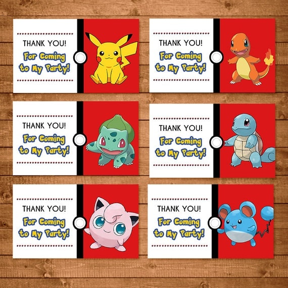 Pokemon Birthday Party Printable Tags And Labels
