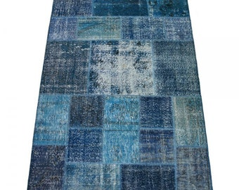 Overdyed Rug, Distressed Rug, Patchworok Rug, Blue Rug, Over dyed Rug, Vintage Turkish Rug, Boho Rug/CUSTOM MADE