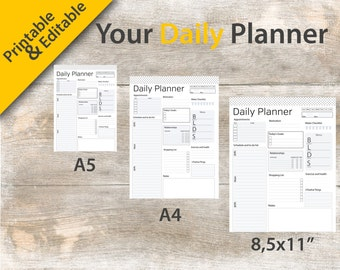 """Daily Planner, A4 Daily Planner Editable, 2017 Daily Planner, Daily Planner Printable, 8.5""""x11"""" Daily Planner – Instant download PDF"""