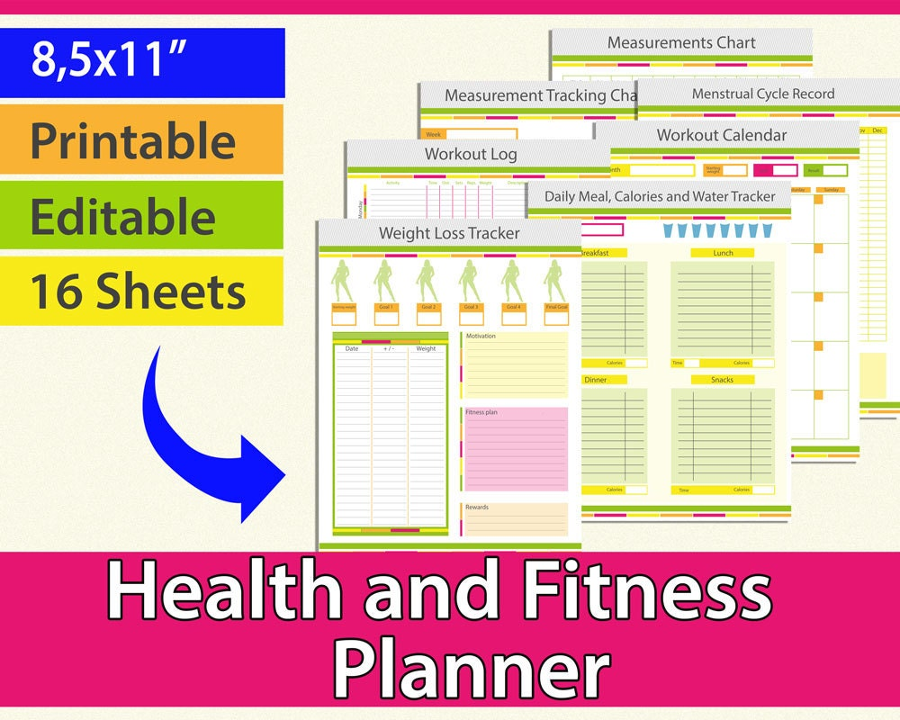 Fitness planner Workout Planner Weight loss journal Weight