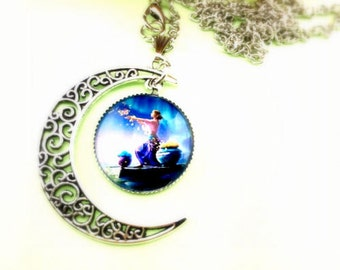 Crescent cabochon necklace girl in the Moon light