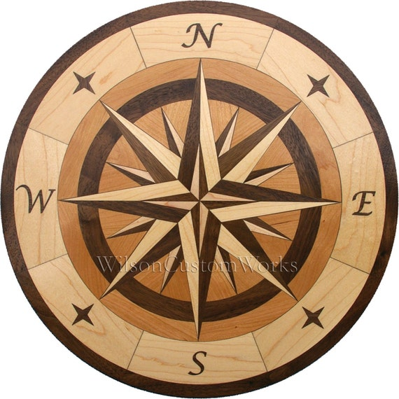 Items Similar To Hardwood Flooring Compass Medallion Inlay