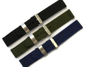 Nylon Heavy Duty Watch Strap/Watch Band 18mm 20mm Black Khaki Navy