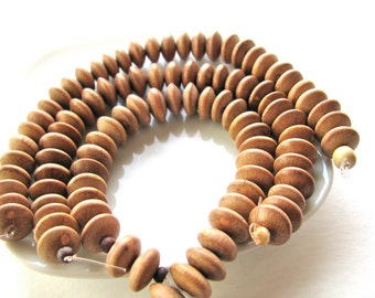 Wood beads, 7 1/2 inch strand, 32 beads, tan color, disk shaped - # 448