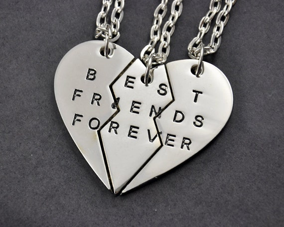 Three Sisters Necklace Set  Best Friends Forever Necklace  Friendship    Three Best Friends Forever Necklace