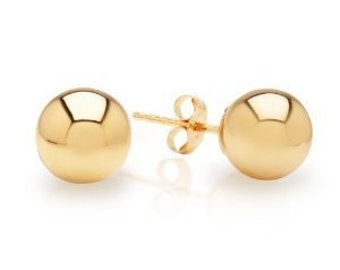 14k Solid Yellow Gold Ball Stud Earrings Size 3mm