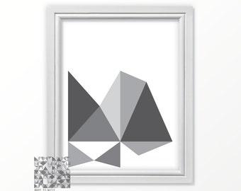 Geometric Print Digital Print Wall Art Modern Art Print Abstract Art Abstract Illustration Gift Him : A0121 57 gray