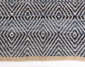 Hand-woven Denim blue Rug Made of recycled jeans, Woven 80x80