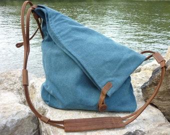 Aurora of canvas shoulder bag (blue)