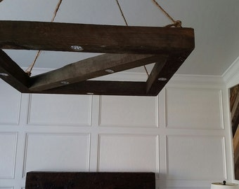 Wood Beam Chandelier from Reclaimed Wood