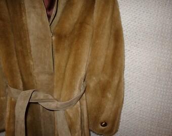 Tissavel France 1970's Vintage Suede Faux Fur Coat,  Heavy Winter Coat, Women's Belted Coat