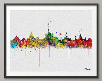 Moscow skyline, Moscow art, Moscow print, Moscow painting,Moscow watercolor, watercolor Moscow,city watercolor,city Moscow A099