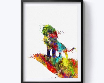 Lion king Watercolor art print The Lion King art print The Lion King watercolor wall art poster lion king print The lion king decor A157-3
