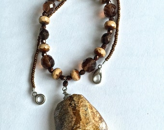 Beaded Necklace with Swarovski crystals and Jasper natural stone pendant