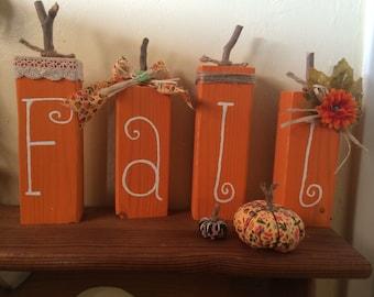 Fall  bumpkins, Falldecoration Set of four blocks  harvest theme,