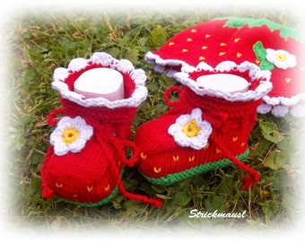 "Baby Bootis ""Strawberry"", knitted baby shoes, different sizes"
