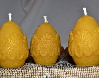4 Natural Handmade 100% Beeswax Candles Egg Small