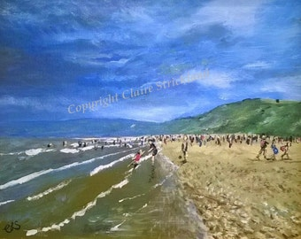 Filey Bay print of original oil painting by English Artist Claire Strickland