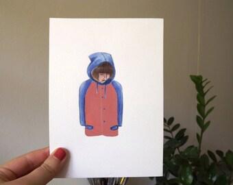 Pastel raincoat traveller-original artwork