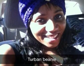 Crochet turban beanie