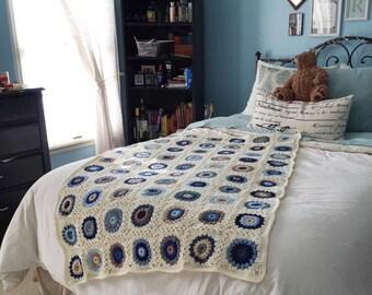 "Sunburst Granny Square Blanket -- ""I love hue"""