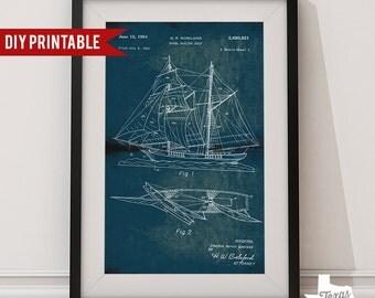 Vintage Sailing Ship Nautical Patent Blueprint DIY Printable Art