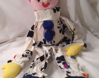 Vintage Handmade Stuffed Clown Doll with Polar Bear Pajamas