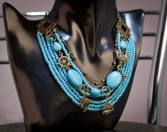 Necklace - Multi strand necklace - Blue turquoise and antique bronze.