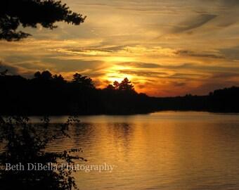 Lake Sunset Photo, Set of 5 Blank Photo Notecards