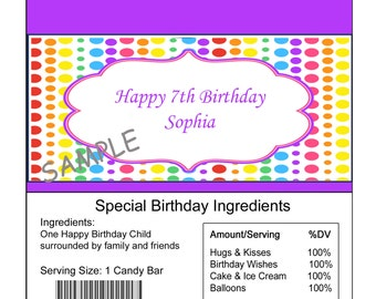 Personalized Rainbow birthday Candy Bar Wrapper