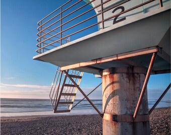 HDR San Diego Beach Photo, Fine Art Photography, Wall Decor, Beach Tower, Photo Print