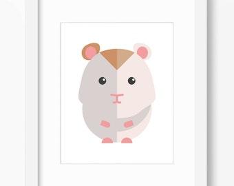 Hamster Print, Hamster Art, Nursery Art, Nursery Print, Nursery Hamster Art, Nursery Hamster Print, Kids Hamster Art, Kids Hamster Print