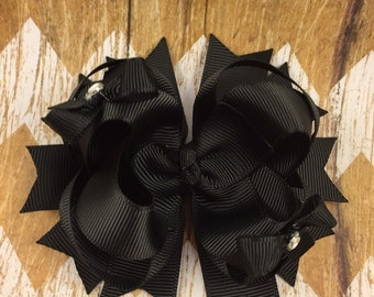 Hair bow, black, layered
